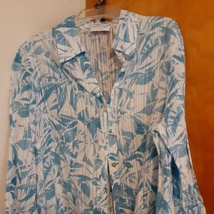 Alfred Dunner Cotton Button Up Blouse